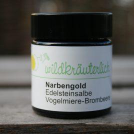 – Narbengold – <br><br>Vogelmiere-Brombeer-Edelsteinsalbe<br><br>