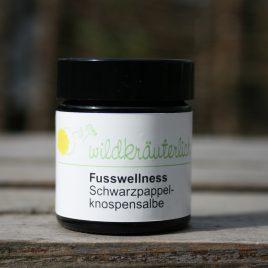 – Fusswellness – <br> <br>Schwarzpappel-<br>knospen-<br>Edelsteinsalbe<br><br>